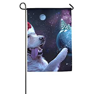 Dog Elf With Christmas Hat In Space Garden Flag Indoor & Outdoor Decorative Flags For Parade Sports Game Family Party Wall Banner,1827inch