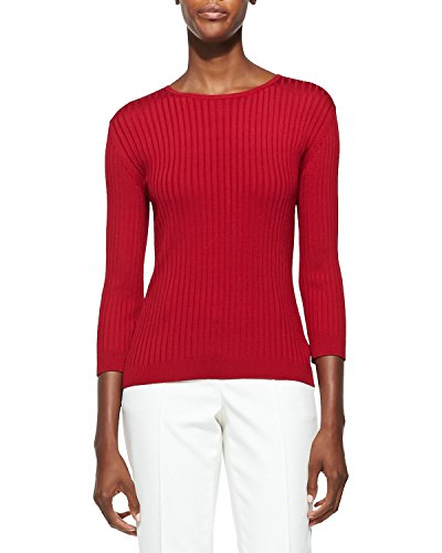 St John Rib Knit Jewel Neck 3/4-Sleeve Top Size XL