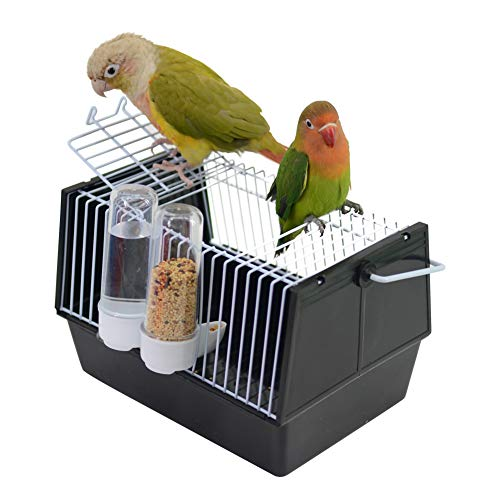 QBLEEV Small Bird Travel Carrier Cage, Lightweight Small Animals Travel Cage, Portable Birdcage with Feeding Bottles for Rats Hamster Lovebirds Hedgehog Finches Canaries Chinchillas Guinea Pigs