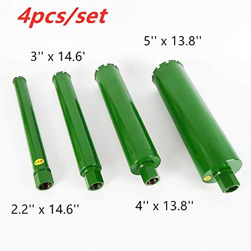 HYYKJ Wet Diamond Core Drill Bit Set 2.2″ 3″ 4″ 5″ for Brick Concrete Block Granite Drilling Coring (4pcs/set)