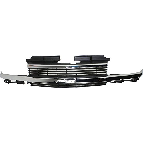 Grille for Chevrolet Blazer 98-05/S10 Pickup 98-04 Horizontal Bar Insert Painted-Gray W/Chrome Center Bar