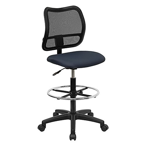 (Mid-Back Mesh Drafting Stool with Navy Blue Fabric Seat [WL-A277-NVY-D-GG] Computer, Electronics)