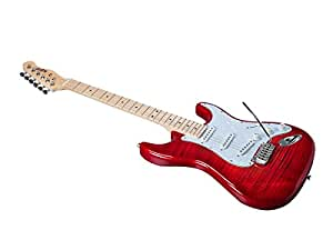 monoprice indio cali dlx flamed maple top electric guitar with gig bag trans red. Black Bedroom Furniture Sets. Home Design Ideas