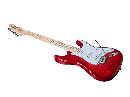 Monoprice Indio Cali DLX Flamed Maple Top Electric Guitar with Gig Bag Trans Red