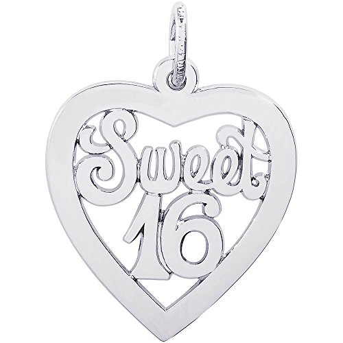 Rembrandt Charms Sterling Silver Sweet Sixteen Open Heart Charm (19.5 x 19.5 mm)