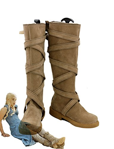 Game of Thrones Daenerys Targaryen Cosplay Shoes Boots Brown Heel (Daenerys Costume Buy)