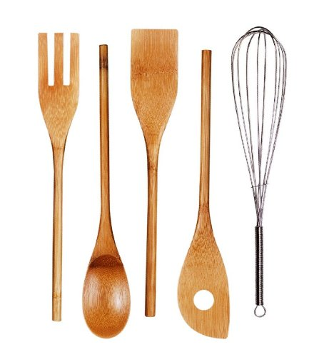 Cook N Home 5-Piece Bamboo Kitchen Tool Utensil Set with Whisk, 12-Inch