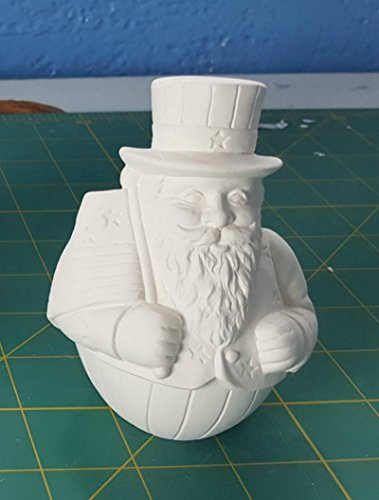 American Santa Roly Poly Figurine or Ornament unpainted ceramic bisque ready to be painted Free Shipping