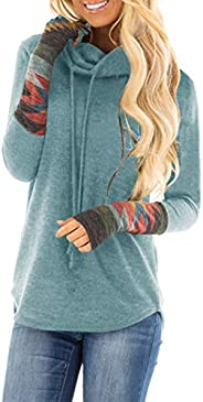 Minclouse Women's Cowl Neck Long Sleeves Tunic Tops Aztec Printed Casual Sweatshirts Cute Patchwork Blouse