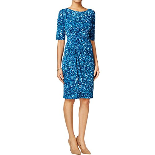 Printed Bubble Sleeve Dress - 9