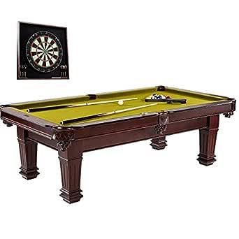 "Barrington Hatherley 100"" Billiard Table Set & Dartboard Set Bundle with Cues, Rack, Balls, Brush, Chalk, Darts, Flights and Marker (37 Pieces)"