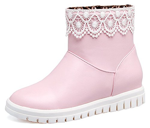 Ankle Wedge Low Toe Pink Comfy Pull Women's IDIFU Round Heel On Booties RzwSxTq