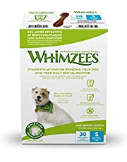 Save on Whimzees Natural Dental Dog Treats, 30-Day Pack, Small Toothbrush, 30 Pieces and more