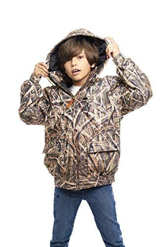 TrailCrest Kid's Insulated & Waterproof Hunters Tanker Jacket, Mossy Oak Camo Patterns, XS, Shadow Grass Blades