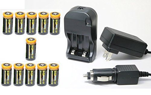 Ultimate Arms Gear 11pc CR123A 3V 1200 mAh Lithium Rechargeable Batteries Battery Charger Kit Universal 110/220V Rapid Wall Outlet & 12V Car Lighter Plug Adapter SONY Video Cameras by Ultimate Arms Gear