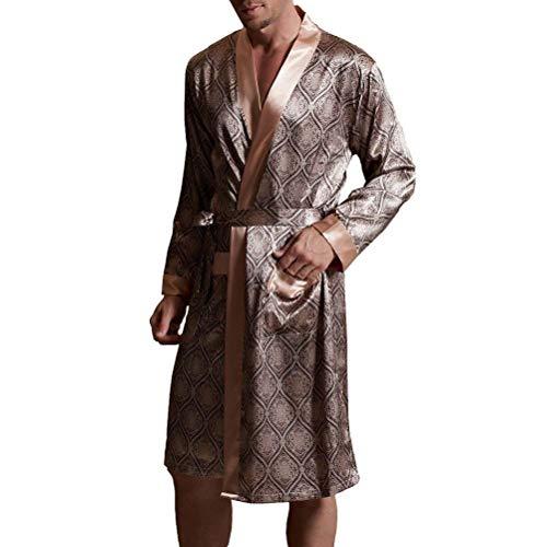 Mens Di Leggero Grau Saoye Vestaglia Da Pigiama Fashion Seta Uom Giovane grau Camicia Notte Accappatoio RaaExCq