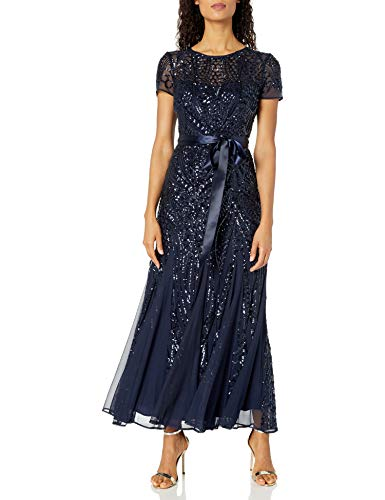 R&M Richards Women's One Piece Short Sleeve Embelished Sequins Gown, Navy, 6
