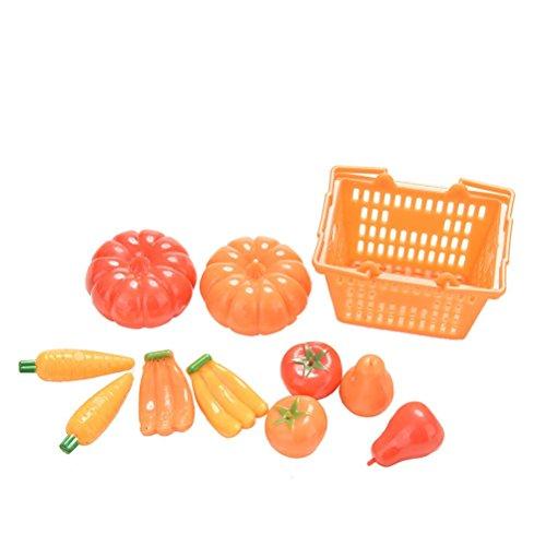 Crqes 11 Pcs/set Fruit Vegetables Basket Toy Set for Barbies Dream House Kids Toys