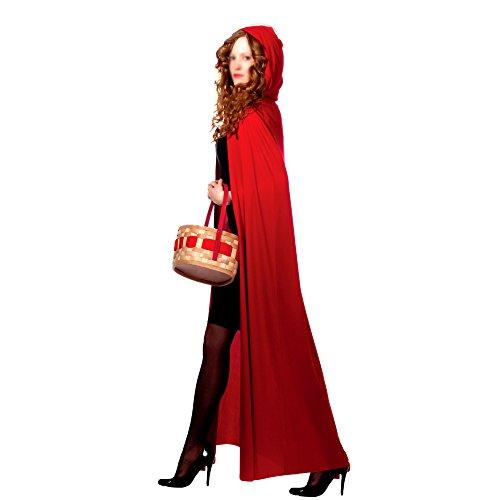 AKAKING's Costume Full Length Red Hooded Cape (Red Halloween Cape)