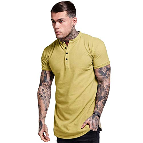 (YAYUMI 2019 Fashion Men's Summer Button Short Sleeved Casual Silm Fit T-Shirt Top Blouse Yellow)