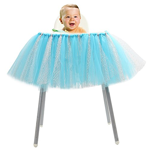 Haperlare 36 x 14 inch Handmade Baby 1st Birthday High Chair Skirt Baby Shower Tablecloth with Glitter Tulle Table Skirt for Party Baby Shower 1st Birthday Decorations,Blue