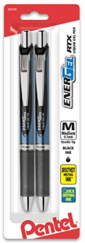 - Pentel EnerGel Deluxe RTX Retractable Liquid Gel Pen, 0.7mm, Needle Tip, Black Ink, 2 pack (BLN77BP2A)