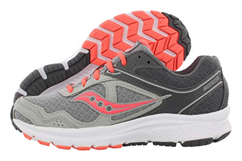 Saucony Women's Cohesion 10 Running Shoe, Grey/Coral, 8.5 M US