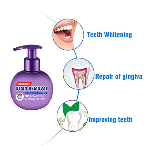 Whitening Toothpaste, Strengthening Stain Removal Toothpaste Fight Bleeding Gums White Toothpaste, Natural, Fluoride Free, Pump Packaging (Passion fruit)