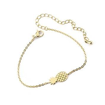 e432eebeb PHONILLICO Bracelet Chaine Fine Charm Ananas Or Acier Fashion Fantaisie Jolie  Bijoux Mode Femme Beauté Taille