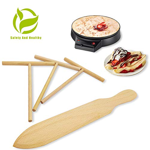 Prowithlin Crepe Spreader, Crepe Maker Made Of 100% Natural Beech Wood, 12 Crepe Spatula and 4.7 Spreaders Suitable For Fit Crepe Pan/Dosa Pan/Kitchen Accessories Crepe Tools