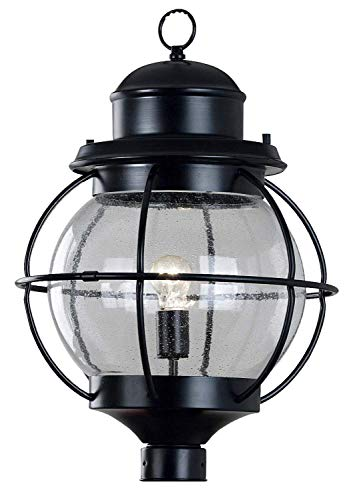 Kenroy Home 90967BL Hatteras 1-Light Post Lantern, Black