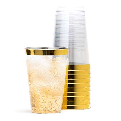 Gold Rimmed Plastic Cups 14 Oz -Gold Plastic Cups - Fancy Clear Disposable Cups - Set of 50 - Securely Packed - Wine, Champagne, Water, Beer, Punch - Reusable Wedding, Birthday, Party Supplies