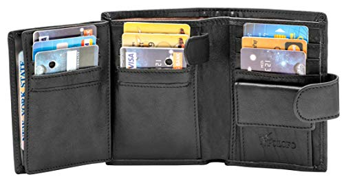 (Large RFID Leather Card Holder Trifold Wallet Snap Closure 3 ID Windows (Black)