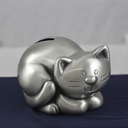 Beautiful Decorative Pewter Kitty Kat Piggy Bank with Cute Design Engraved   Kat Money Saver, Coin Bank for Kids and Children   Great Gift for Kid's Birthday, Christening, Baby Shower, Christmas