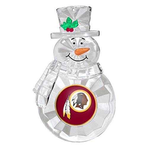 NFL Washington Redskins Traditional Snowman Ornament, Clear Acrylic, 4.5