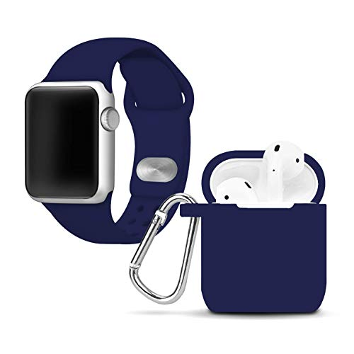 State Watch Sport Steel Tigers (AFFINITY BANDS Navy Blue Silicone Watch Band and Case Cover Combo Compatible with Apple Watch and AirPod Case (42mm/44mm))