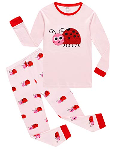 Ladybug Little Girls Long Sleeve Pajama Sets 100% Cotton Pjs Size -