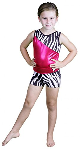 Delicate Illusions Girls Tank Sleeveless Leotard with Matching Stretch Shorts for Gymnastics Fitness Outfit Apparel XL (10-11 yrs) Fuchsia/Zebra
