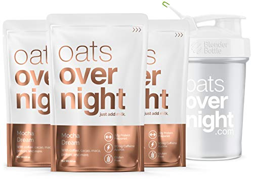 (Oats Overnight - Mocha Dream - Premium High-Protein, Low-Sugar, Gluten-Free, Contains Coffee (2.8oz per pack) (3 Pack with BlenderBottle))