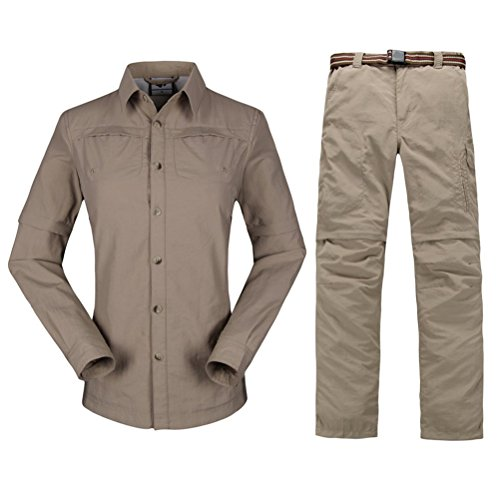 Zhhlinyuan Mujeres Hiking Climbing Quick-drying Outdoor Sport Suits Shirt & Shorts Removable Pants Khaki