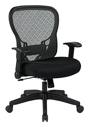 SPACE Seating R2 SpaceGrid Back and Padded Memory Foam Mesh Seat, 2-to-1 Synchro Tilt Control, Nylon Base Adjustable Managers Chair, Black ()