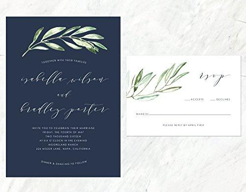 Organic Wedding Invitation, Earthy Wedding Invitation, Navy Blue Wedding, Rustic Wedding Invitation by Alexa Nelson Prints