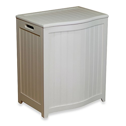 The White Oceanstar Bowed Front Wood Laundry Hamper by AytraHome