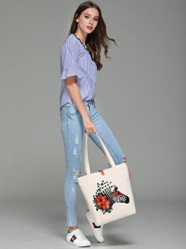 So'each Women's Cute Flower Zebra Graphic Top Handle Canvas Tote Shopping Bag