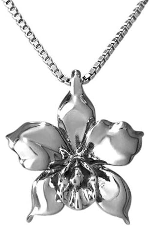 925 STERLING SILVER LADIES 3 PETAL FLOWER NECKLACE PENDANT W// DIAMONDS//18/'/'