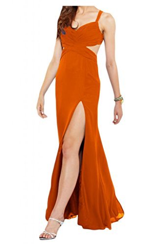 Vestidos de fiesta dura Simple bola de gasa vestidos de noche de dama de honor larga Toscana novia rueckenfrei naranja