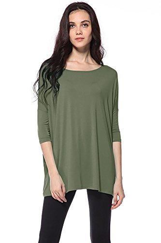 Piko Women's 1988 Famous 3/4 Sleeve Bamboo Top Loose Fit Olive Moss S