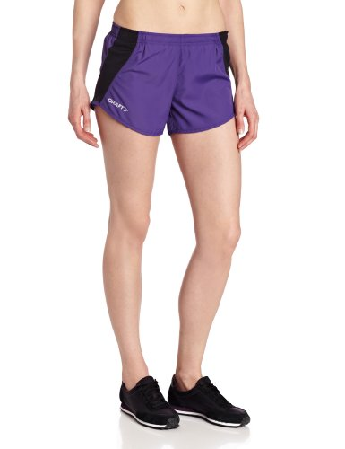 Craft Womens Performance Short - Craft Sportswear Women's Performance Running and Training Shorts: dryfit/cool/lightweight/protection/sun/athletic/athleisure/quick/wicking/fitness/workout/exercise/outdoor/trail, Vision/Black, Large
