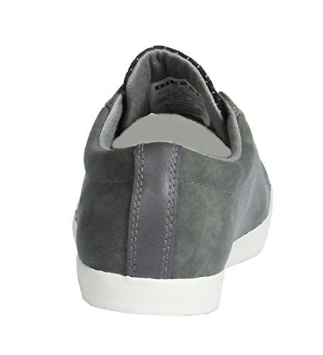 Diesel Scarpe Casual Da Uomo Bikkren Stringate Sportive Sneakers In Pelle Scamosciata Di Peltro / Nero
