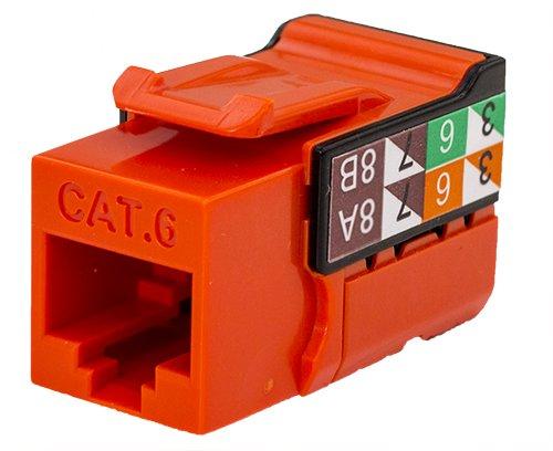 CAT6 RJ45 Keystone Jack, V-Max Series - Orange Color - (50 pack)